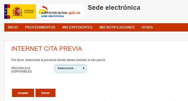 cita previa toma de huellas sede electronica provincia