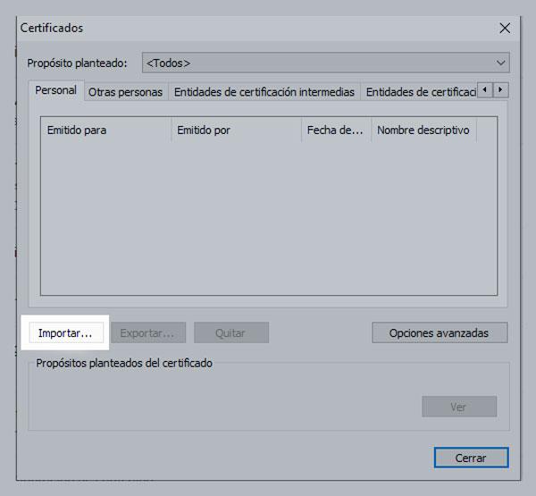 dnie electronico importar certificados chrome paso 2