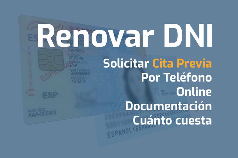 renovar dni cita previa telefono online documentacion cuanto cuesta