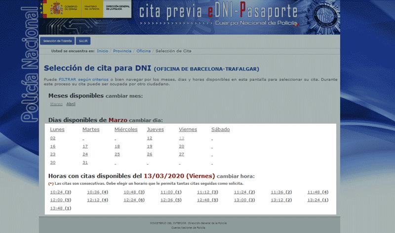 renovar dni seleccionar localidad dias horas online pantallazo 2